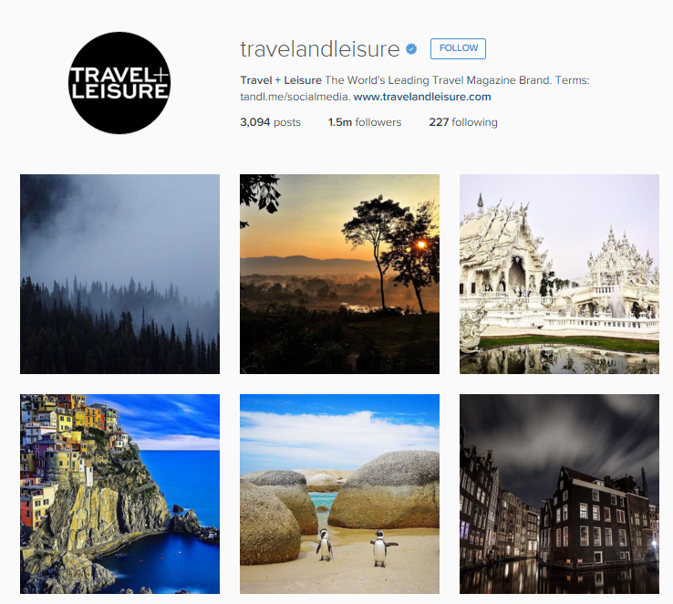 Travel and Leisure Instagram