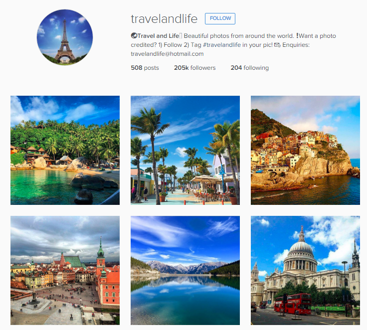 Travel and Life Instagram