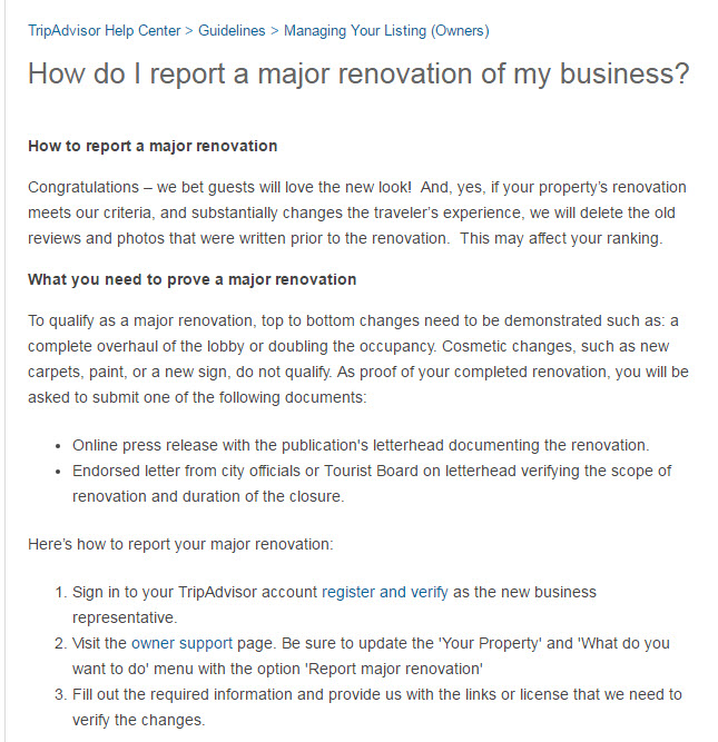 TripAdvisor Help Center_Renovation Information