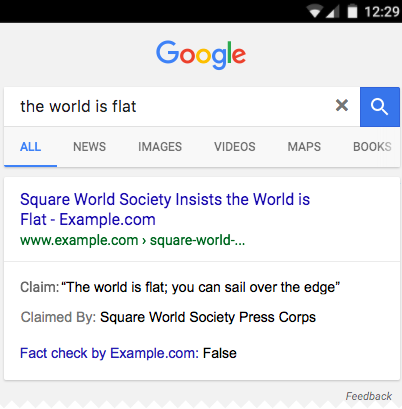 Google Fact Checking Example